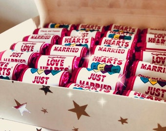 Personalised Sweets, Mini love heart rolls - Just married - Sweet wedding favours - Love is sweet - Hen party candy gifts, Children's party.