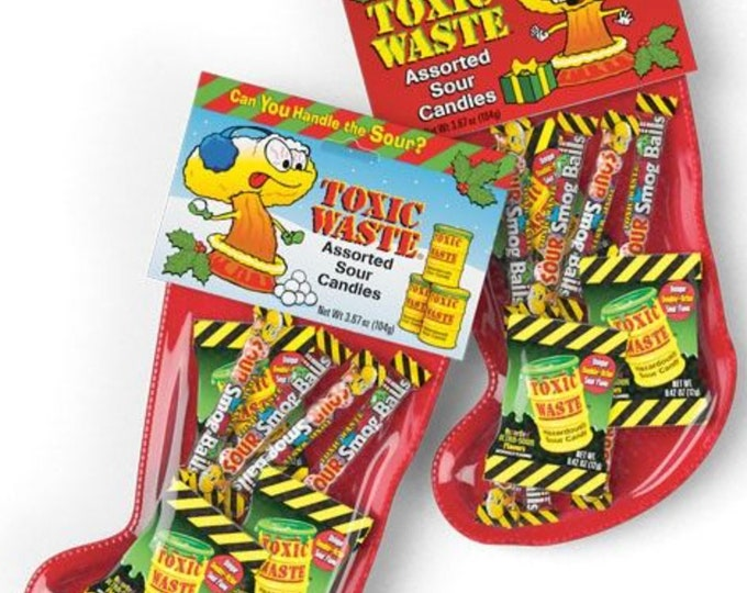 Toxic waste Christmas Stockings, Super Sour Candy, Kids Gifts. Sour Smog Balls. Festive Stocking gifts. Two Per Order.