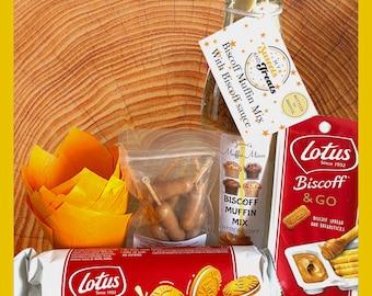Biscoff Gift Set. Lotus Biscoff. Muffin Baking Kit. Biscuits. Birthday gift hamper. Biscoff Lovers