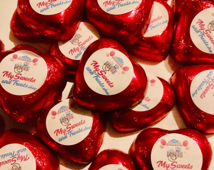 Corporate Logo, Branded Personalised Milk Chocolate Heart Foil Treats. Advertising gifts, Company sweets, Bespoke design art work.