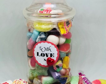 With Love Sweets occasion gift jar - Gifts for him, Gifts for her. Happy birthday, Well done, You passed, Congratulations, Get well soon