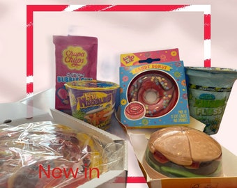 Crazy Candy, Fun sweet foods. Doughnut, Noodles, Candy Floss, Candy Pizza, Pick N Mix, Gummy Burger, Jelly Sweets. Fun Children's Gift.