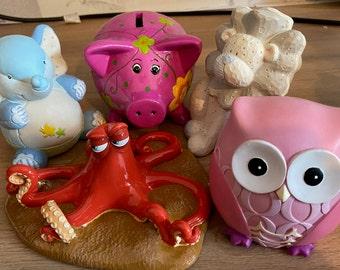 personalised money box. Kids Money Box. Cute Animal Money Boxes. Name On Money Box. Children's Customised Money Boxes. Piggy Bank