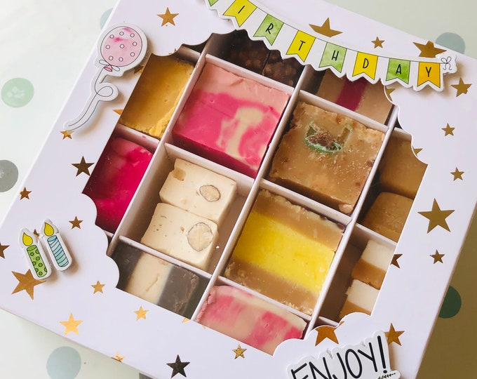 Happy Birthday Handmade Fudge Gift Box. With Gold Stars And Decorative Design. 16 Flavours & Variety Of Fudge. Mix And Match Flavours.