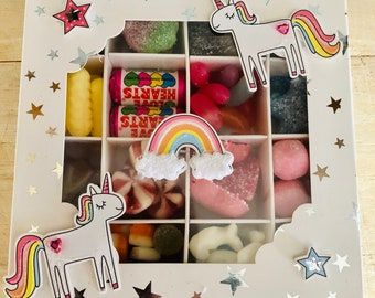 Unicorn Sweet Gift Box, Pick N Mix, Happy Birthday sweets, Birthday Girls sweets, Sparkle, Rainbows, Stars, Clouds. Sweet Gifts. Cute Gift.