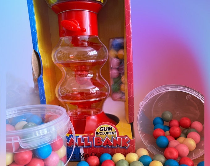 Bubblegum machine, Gumball bank, bubblegum refills and toy machine. Insert coin for bubblegum. Christmas gift for children.