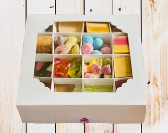 Sweets and Fudge gift box. Best of both, Movie Night In, Couple Gifts, Handmade Fudge. Pick N Mix. Half and Half Box.