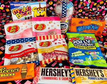 USA Sweet Gift. American Candy Hamper. Candy Gift Set. American Sweets In The UK. Jolly Rancher, Gummy Bears, Jelly Belly Beans, Laffy Taffy
