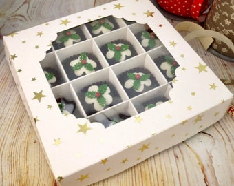White Cardboard Window Sweet Gift Boxes. Gold Star Design, Box and inserts. Empty Boxes, Flat pack, Easy to assemble. 16 compartments.
