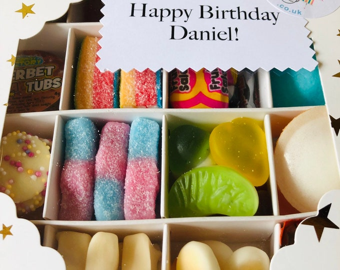 Vegan Sweets, Pick N Mix Filled Gift Box. Dietary candy. Fizzy, Sour, Jelly mix. Thank you, Well done, Happy birthday.