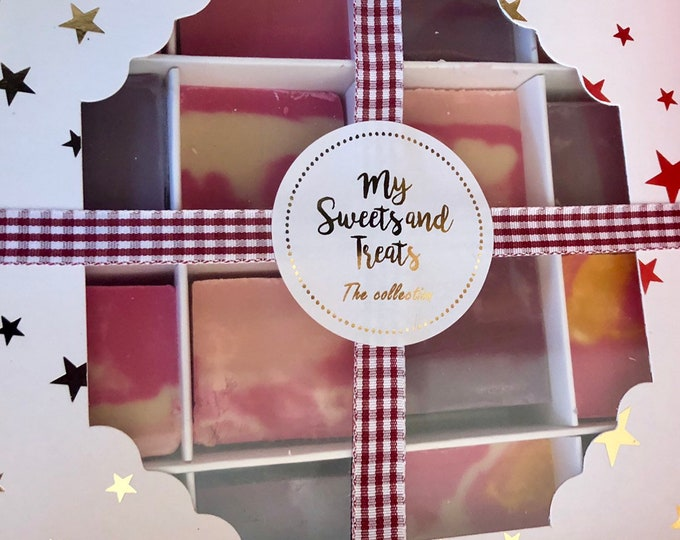 Gin flavoured fudge gift box. Handmade Parma violet, Raspberry pink gin, Rhubarb & ginger gin fudge. Thank you gift for her / Gift for him