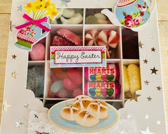 Happy Easter Sweet Gift Box, Candy and Chocolates. Easter egg alternative, Pick N Mix. Decorated gift box, Hot Cross Buns, Flowers, Tea Time