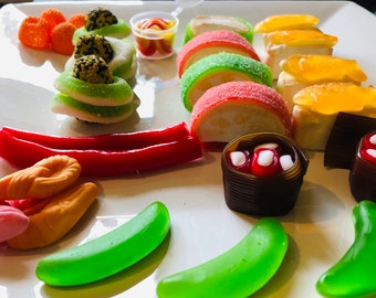 Handmade Sushi Sweet Candy Jelly Tray - Gummy Sweets - Fruit flavoured sweets - Christmas Gifts - Stocking Filler - Sea Food Lovers.