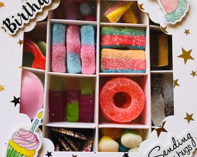 Happy Birthday Design Pick 'N' Mix Filled Gift Box. Sweet Selection Box. Fizzy - Classic & Retro Sweets - Candy - Chocolate - Marshmallows.