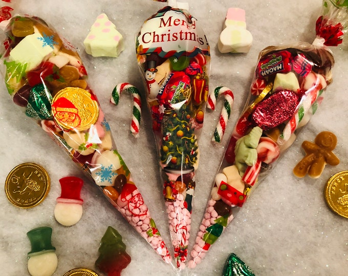 Christmas Sweets - Festive sweet gifts - Stocking Fillers - Christmas Candy Cones - Pick N Mix - Pre Filled Sweet Cones - Festive Sweets.