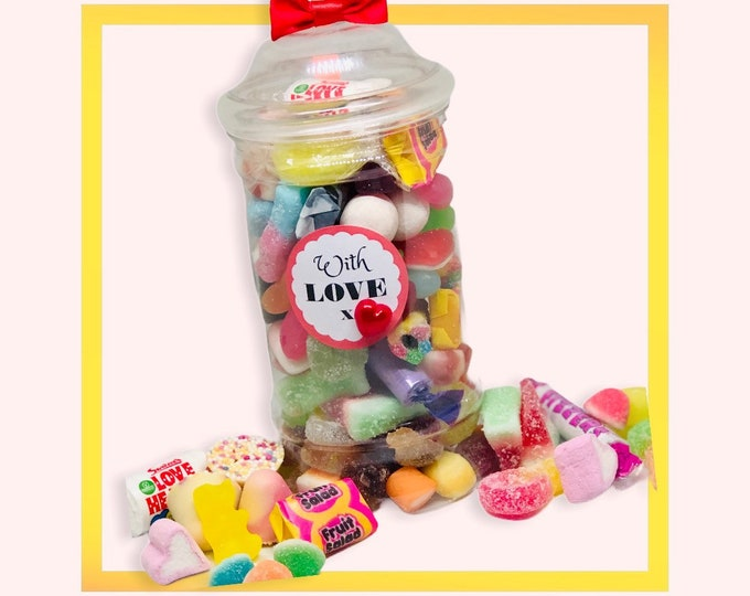 Sending Love, Sweets occasion gift jar - Gifts for him, Gifts for her. Happy birthday, Well done, You passed, Congratulations, Get well soon