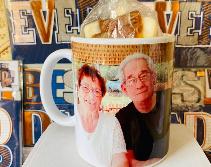 Personalised photo mug cups, filled with sweets. Sweet father's day gift. Coffee / Tea Photo gift, Colourful, bright prints, unique gift.