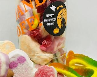 Personalised Halloween sweet jar, goodie jar, Hands off my sweets, Happy Halloween. Sweetie jar, snakes, spider, pumpkins Marshmallows.