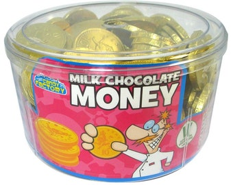 Chocolate Gold Foil Coins, Vegetarian Milk Chocolate, Gelatine Free, Solid Chocolate Coins. Festive chocolate. Retro sweets