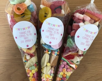 6 Pre filled Gluten Free Pick N Mix Sweet Cones. Birthday party sweet bag. Thank you gifts, Party gifts, Thank you for coming - Sweet mix up