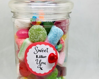 Valentines day sweet jar. Pick N mix - Victorian style jar. Gifts for him, Gifts for her. Sweet like you. Optional 3D Pop Up Greetings Card.
