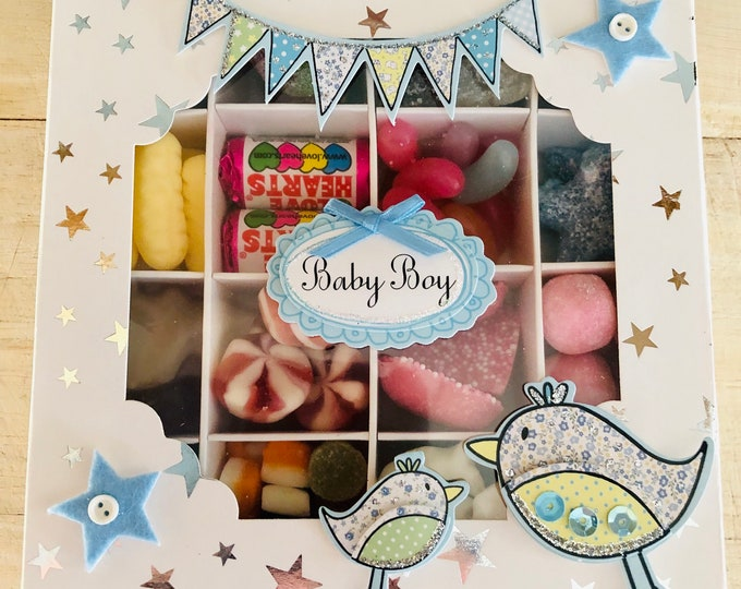 Baby boy, Baby Girl Sweet Candy Gift Box. Baby shower party gift, Mum to be gift, Parents to be. Baby Stork Card. Pick N Mix sweets.