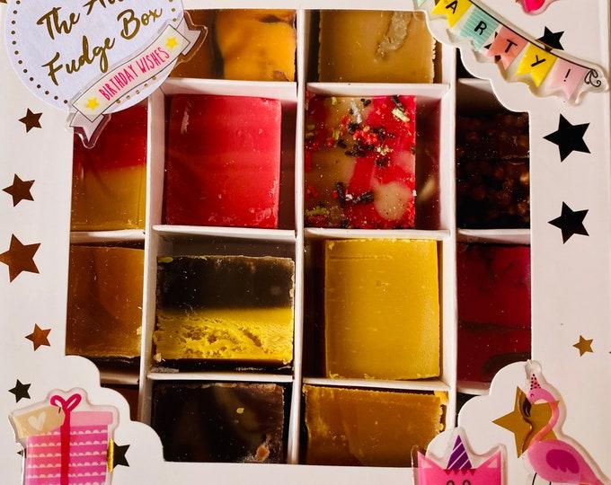 Happy Birthday Handmade Fudge Gift Box. Unique Birthday Gift. Fudge Box, Flavoured Fudge. Gourmet Fudge, Chocolate Fudge. Foodies Gifts Idea