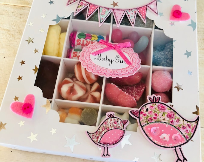 Baby Girl Sweet Gift Box. Christening gifts, Baby shower party gift, Mum to be gift, Parents to be. Pick N Mix, Chocolate. Baby Stork theme.