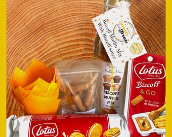Lotus Biscoff Muffin baking Mix gift box. Biscoff sauce filled pipette. Muffin cases, Biscoff lovers gift set. Baking kit for kids.