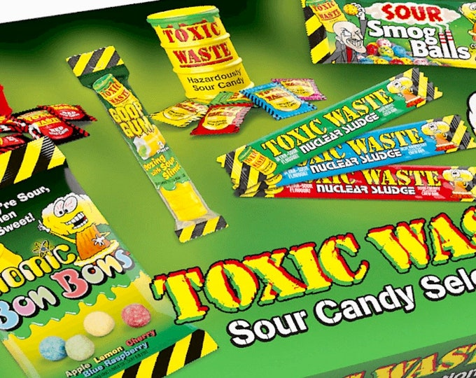 Toxic Waste Selection Box, Sour Sweets Gift Set. Super sour candy, Chew Bars, Bon Bons, Waste Drums, Goop Gum, Stocking fillers, Kids Gifts.