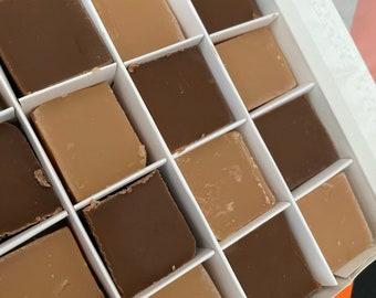 Handmade Vegan Vanilla & Chocolate Fudge Gift Box,  Gourmet Fudge, Dairy Free, Thank You - Birthday gift - New Home - House warming