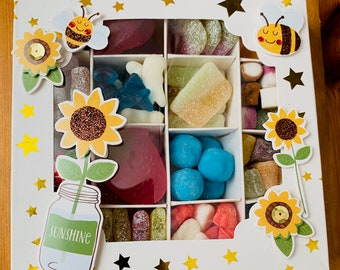 Sunflowers Bees decorative filled sweet box. Pick n Mix sweet gift Box. Thank you sweets, Gift for mum, Nan. Flowers Summer Themed.