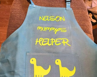 Personalised kids aprons with hat. Dinosaur, Mermaid, Unicorn aprons. Custom made, Cute Baking gifts. Children's baking clothing set.
