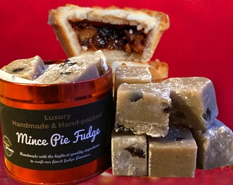 Mince Pie Fudge. Handmade Christmas Fudge Gift Tin. Dairy free, vegan mince pie fudge. Adult stocking filler. Gift for him. Gift for her.