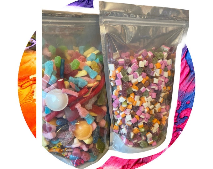 Custom Pick N Mix mix. Large Sweet Bags. Build your own. Pick and Mix sweet pouch. Customised Candy Gifts. Create your own. Mixed Sweet Shop