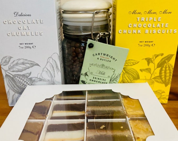 Hot Chocolate Gift, Chocolate fudge box, Drinking Hot Milk Chocolate, Oat Biscuits, Chunky chocolate biscuits. Gift Idea.