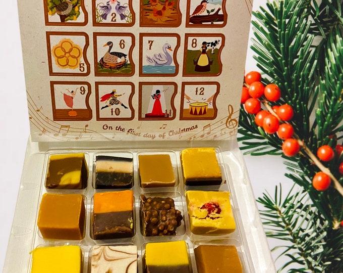 Pre order. 12 Day Fudge Advent calendar. Christmas calendars. Gourmet fudge flavours. Luxury Handmade Fudge. PRE ORDERS ONLY