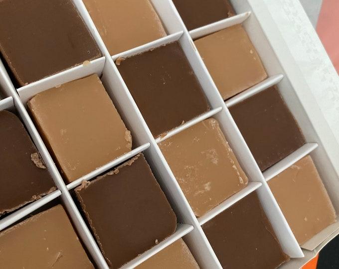 Vegan Salted Caramel Fudge, Vanilla & Chocolate Gift Box, Handmade Gourmet Fudge, Dairy Free, Thank You Gift Box, Birthday gift, New Home