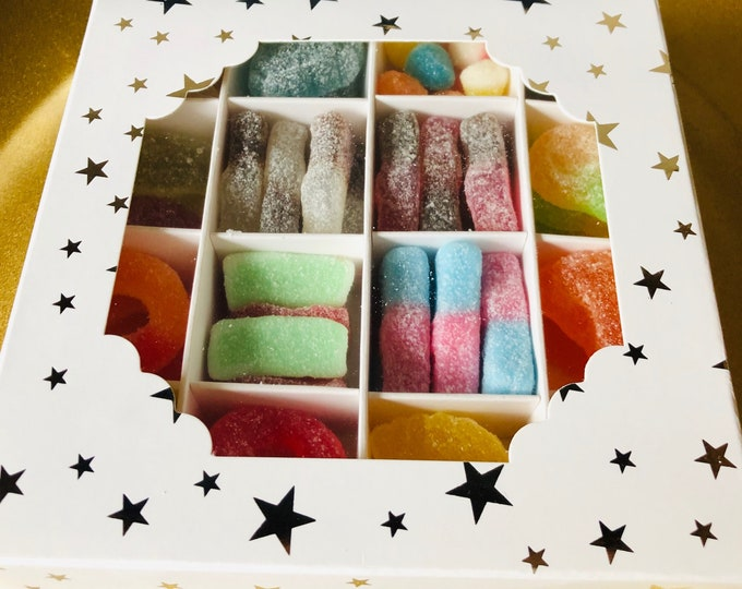 Sweet Box Gifts. Halal - Gluten free, Vegetarian. Variety / Pick N Mix - Thank you - Get well soon - Housewarming - Well done sweet Gift.