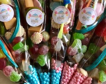 Sweet Cones - Party Bags - gender reveal - Vegetarian - Vegan - Halal - Pick N Mix - Pre filled Party Cones -  Celebration Sweets.