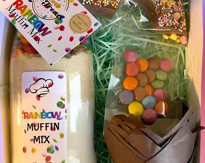 Smarties Rainbow Muffin Mix Gift Set. Chocolate Muffin Mix. Cupcake Frosting and Cake Decorations. Unicorn Gift Set. Baking Kit.