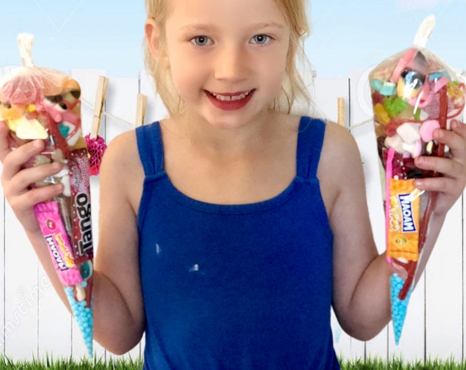 Pre filled Sweet Cones - Pick N Mix - Sweet party bags - Happy birthday, Children's candy - Party sweets cones - Party Goodie bags.