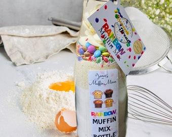 Rainbow Muffins, Baking Mix. Chocolate Muffin Mix. Baking at home gift. Kids Baking Set. Easy Baking. Smarties Chocolate. Rainbow Gifts.