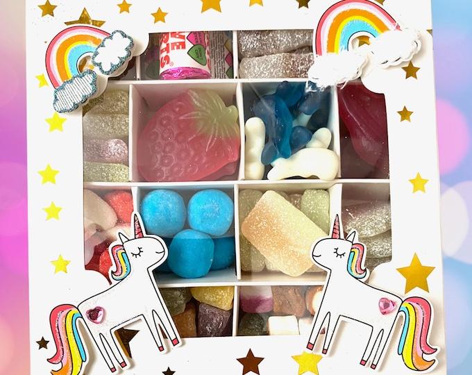 Unicorns Rainbows Sweet Gift Box, Gifts for her. Birthday Girl Sweets. Rainbow Sweets. Fairytale gifts. Birthday Sweet Gifts. Birthday Party