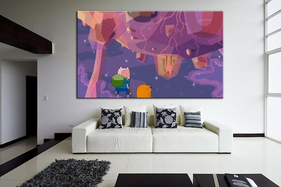 Adventure Time Cartoon Poster Colorful Print Finn And Jake Etsy