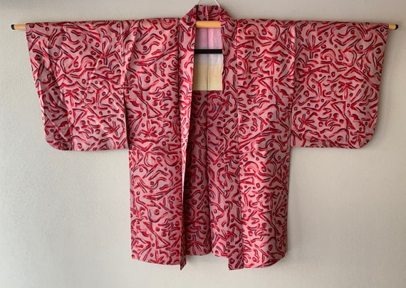 Antique Japanese Kimono Haori Jacket Meisen Silk a