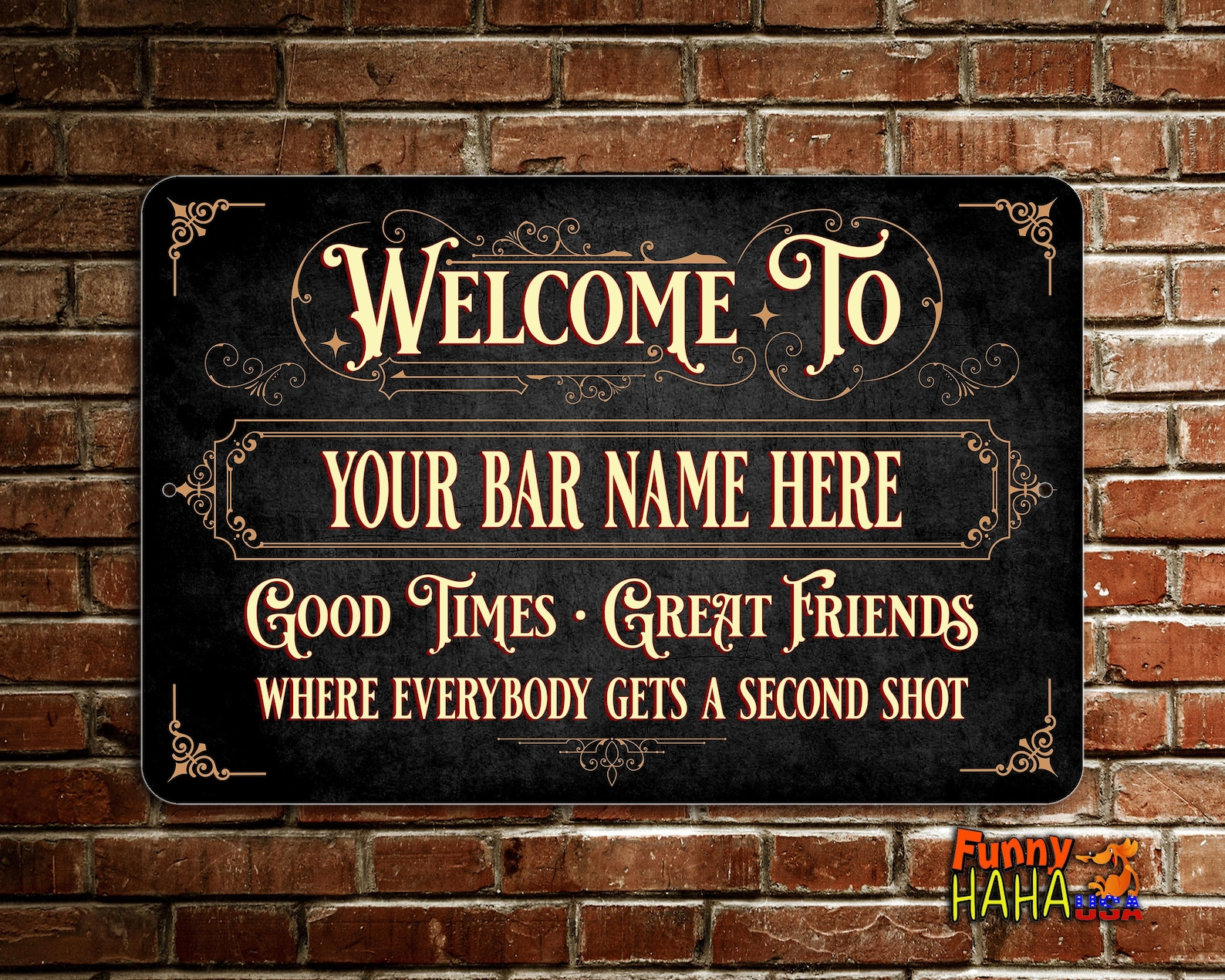 Vintage Bar Sign Personalized With Yellow Text In Black Background