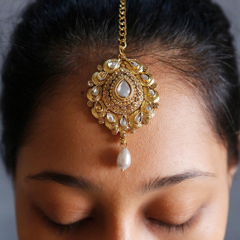 Fashion Jewelry Uk Ethnic Indian Bollywood Antique Kundan Maang Tikka Earring Forehead Jewelry Distinctive For Its Traditional Properties