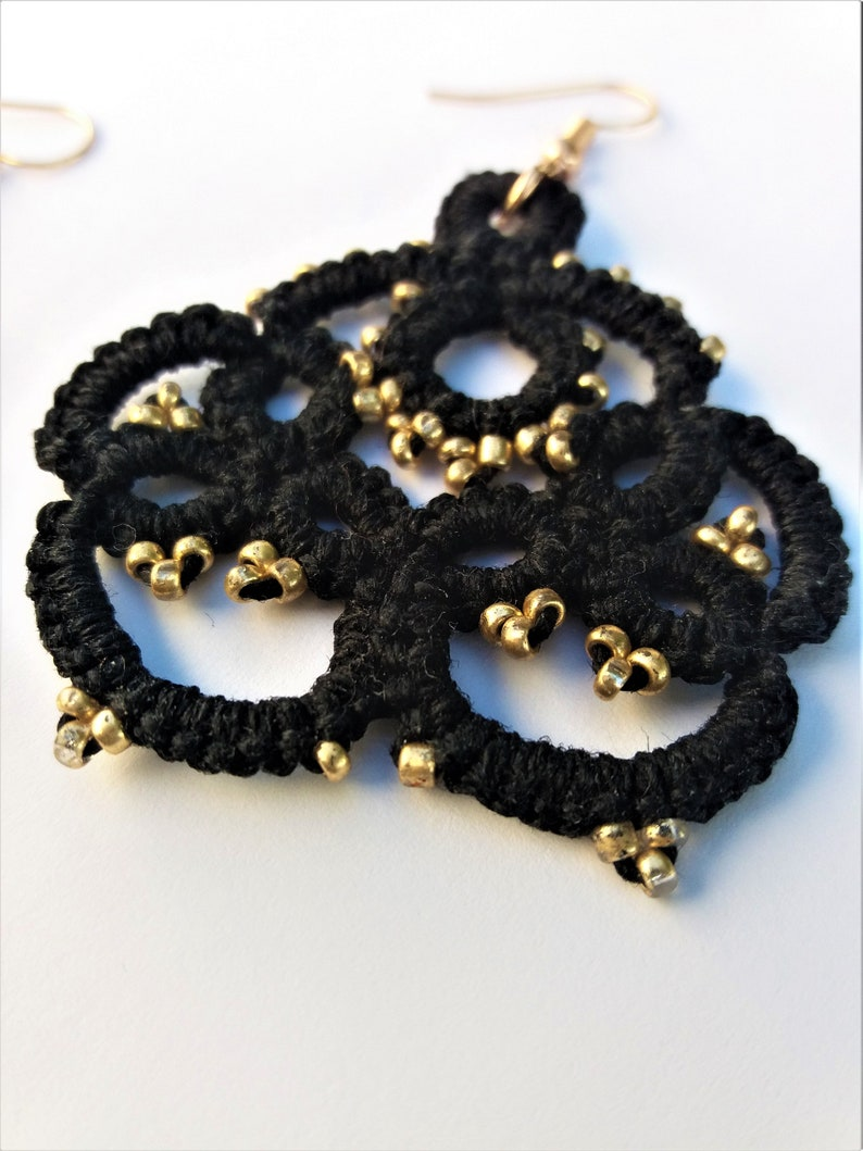 Black lace tatting earrings beaded with gold little seed beads Small lightweight gift for women