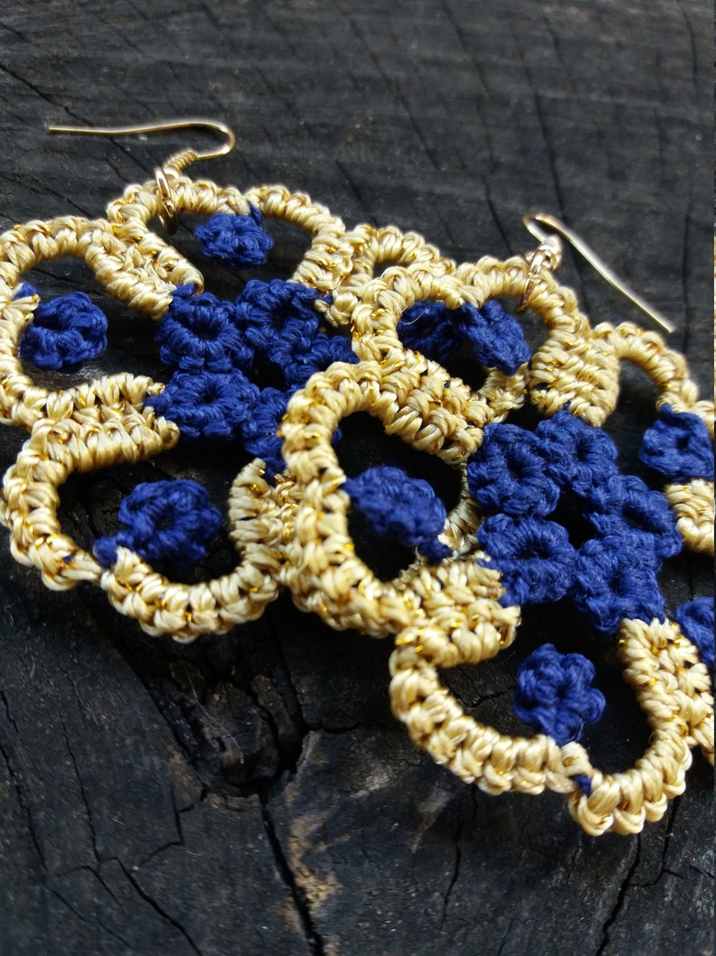 Indigo blue and gold tatted round earrings
